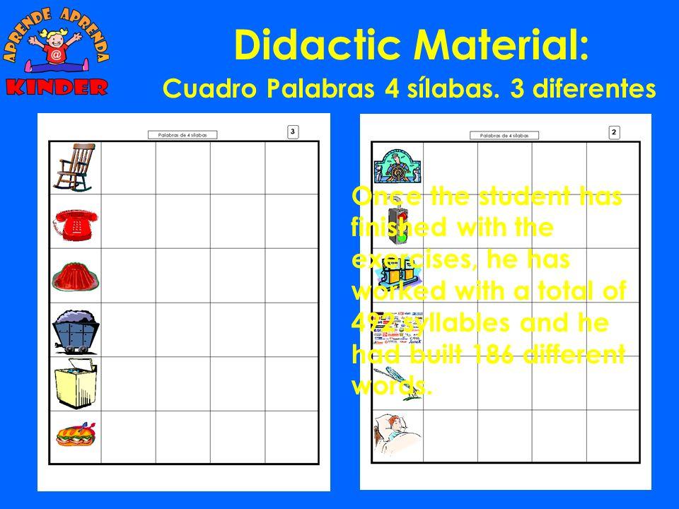 Didactic Material: Cuadro Palabras 3 sílabas. 14 diferentes