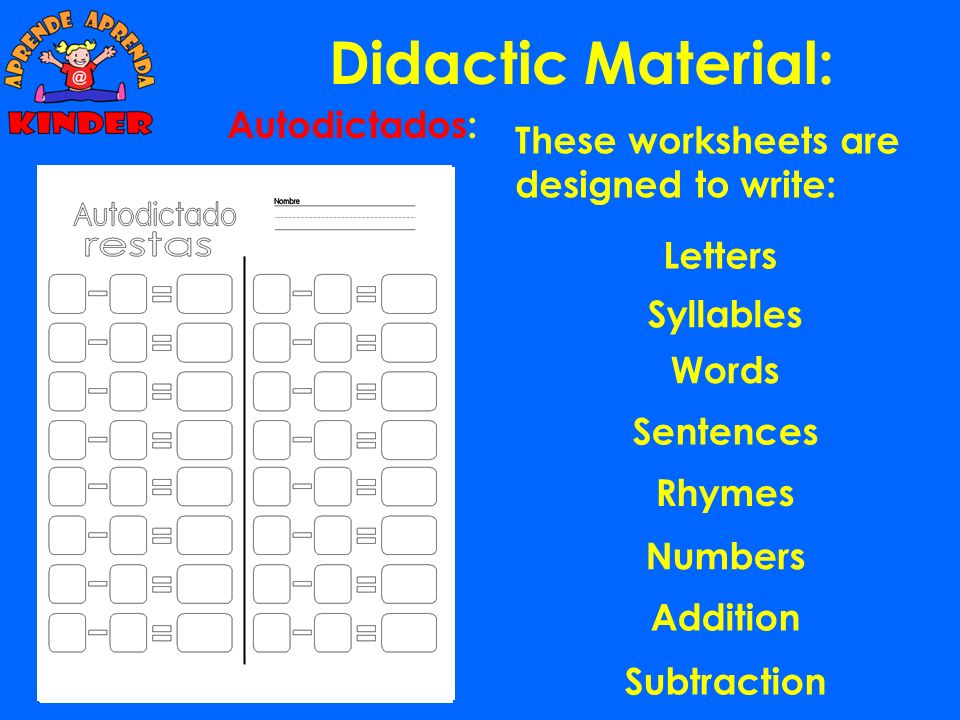 Didactic Material: Cuadro Palabras 4 sílabas. 3 diferentes Once the student has finished with the exercises, he has worked with a total of 492 syllabl