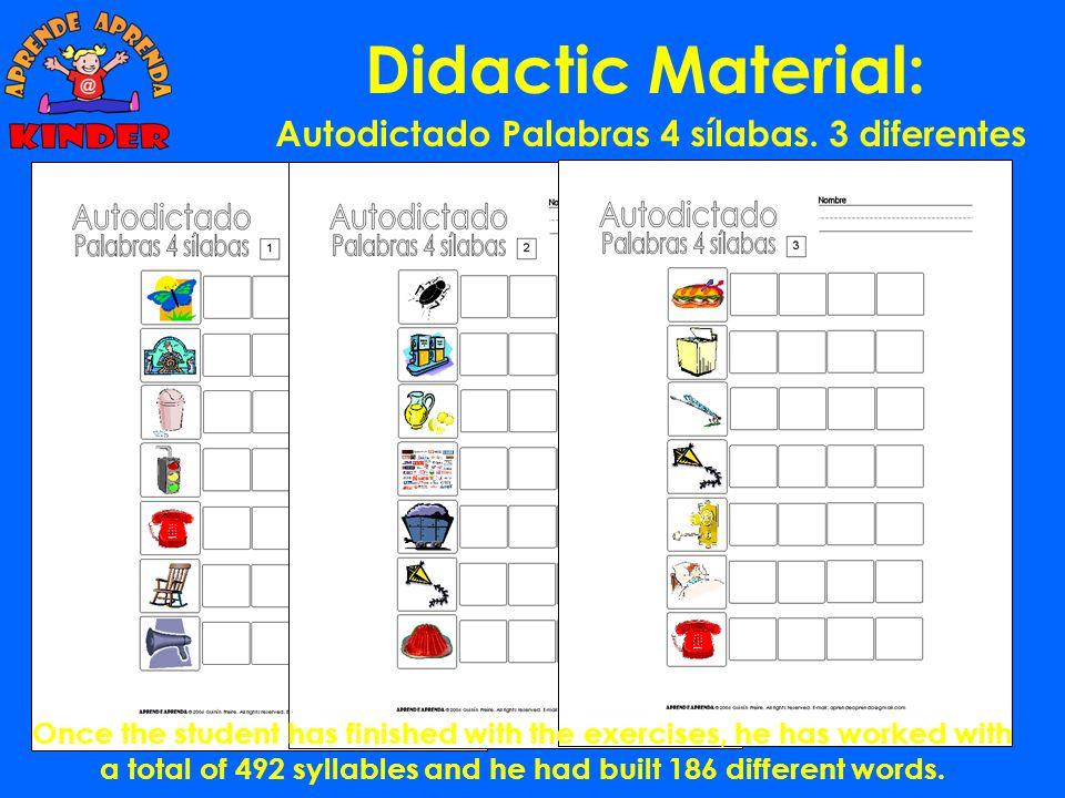 Didactic Material: Autodictado Palabras 3 sílabas. 6 diferentes