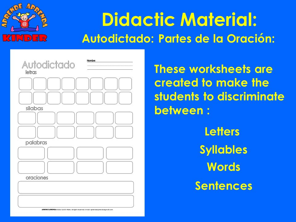 Didactic Material: Once the student has finished with the exercises, he has worked with a total of 492 syllables and he had built 186 different words.