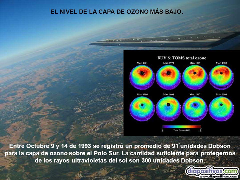 EL NIVEL DE LA CAPA DE OZONO MÁS BAJO. Entre Octubre 9 y 14 de 1993 se registró un promedio de 91 unidades Dobson para la capa de ozono sobre el Polo