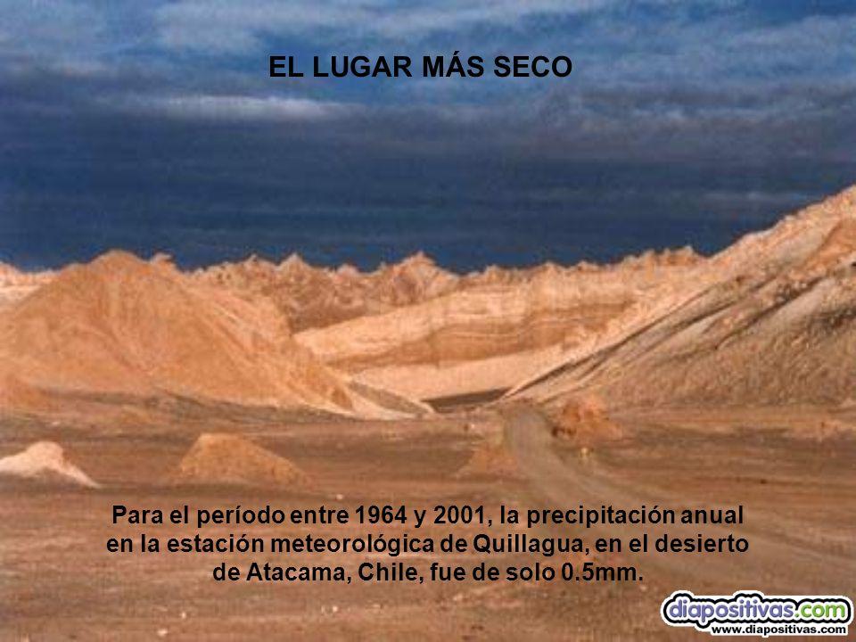 Para el período entre 1964 y 2001, la precipitación anual en la estación meteorológica de Quillagua, en el desierto de Atacama, Chile, fue de solo 0.5