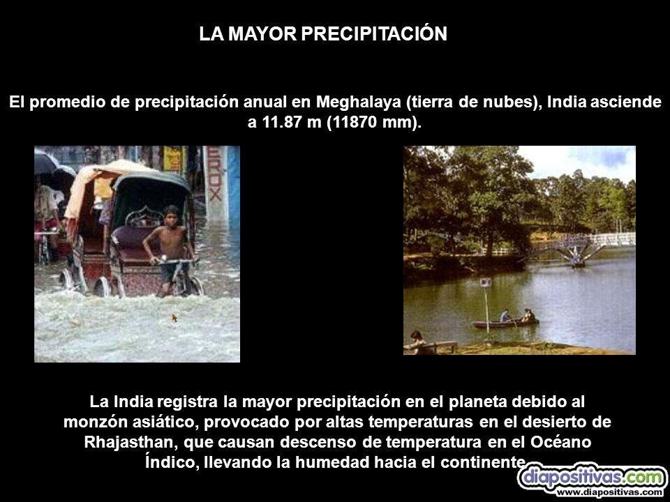 El promedio de precipitación anual en Meghalaya (tierra de nubes), India asciende a 11.87 m (11870 mm). LA MAYOR PRECIPITACIÓN La India registra la ma