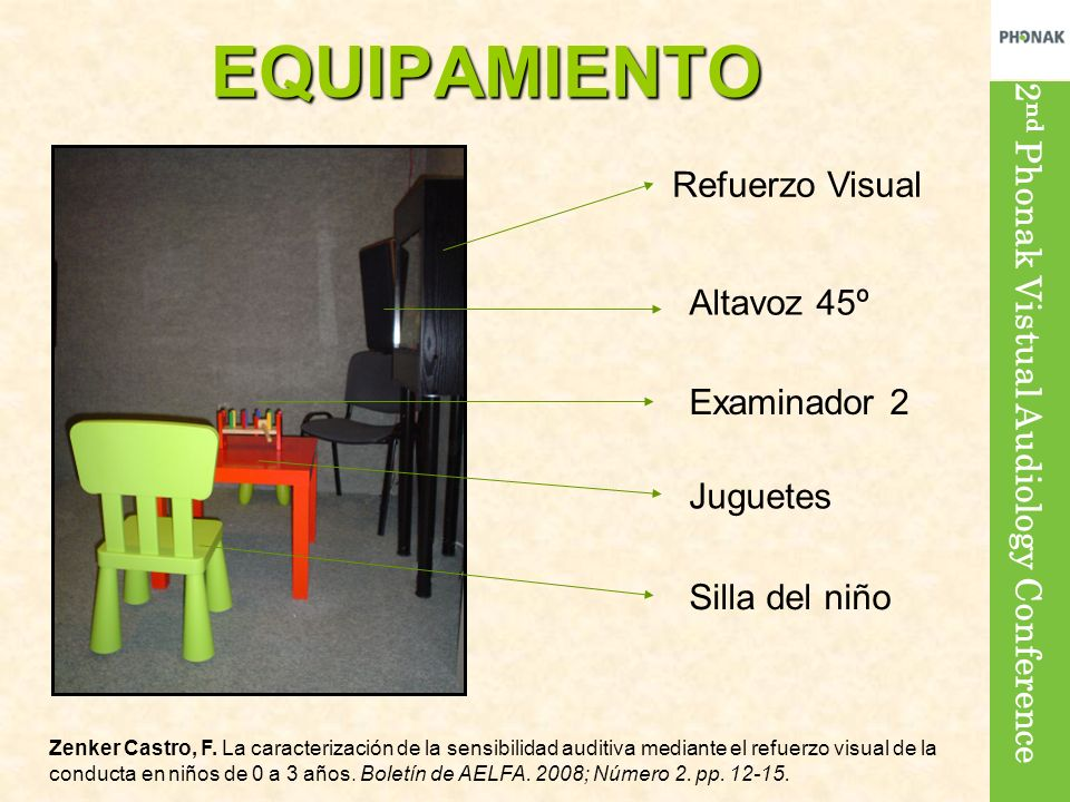 2 nd Phonak Vistual Audiology Conference Refuerzo Visual Altavoz 45º Examinador 2 Juguetes Silla del niño EQUIPAMIENTO Zenker Castro, F. La caracteriz