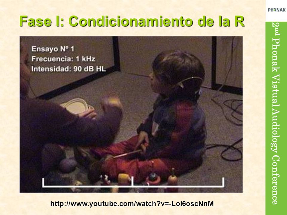 2 nd Phonak Vistual Audiology Conference Fase I: Condicionamiento de la R http://www.youtube.com/watch?v=-Loi6oscNnM