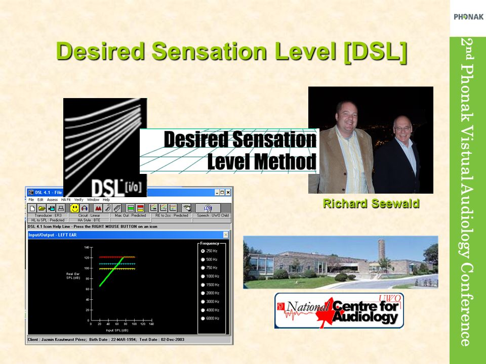 2 nd Phonak Vistual Audiology Conference Richard Seewald Desired Sensation Level [DSL]