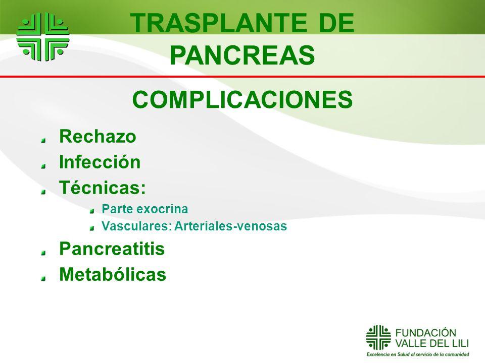 COMPLICACIONES Rechazo Infección Técnicas: Parte exocrina Vasculares: Arteriales-venosas Pancreatitis Metabólicas TRASPLANTE DE PANCREAS