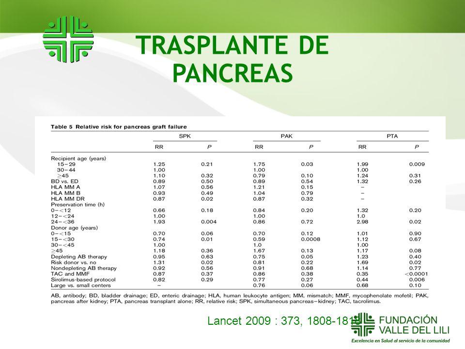TRASPLANTE DE PANCREAS Lancet 2009 : 373, 1808-1818