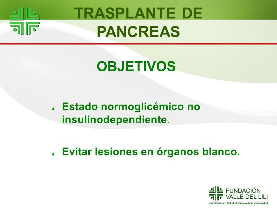 OBJETIVOS Estado normoglicémico no insulinodependiente. Evitar lesiones en órganos blanco. TRASPLANTE DE PANCREAS