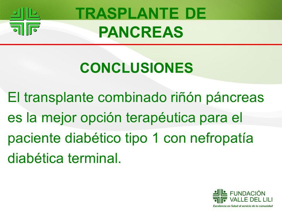 CONCLUSIONES El transplante combinado riñón páncreas es la mejor opción terapéutica para el paciente diabético tipo 1 con nefropatía diabética termina