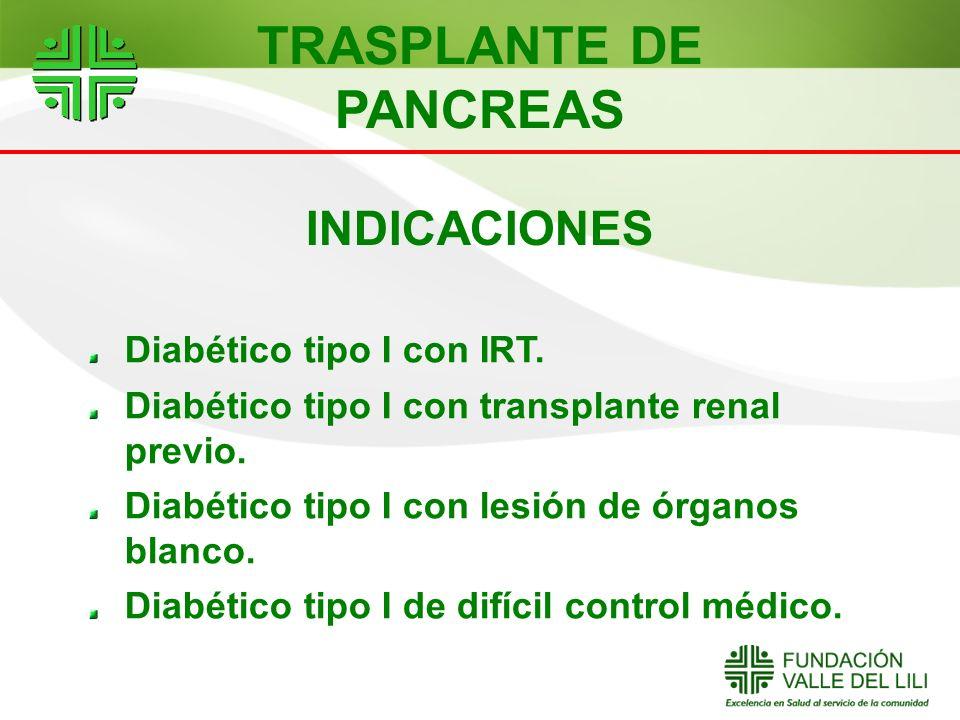 INDICACIONES Diabético tipo I con IRT. Diabético tipo I con transplante renal previo. Diabético tipo I con lesión de órganos blanco. Diabético tipo I