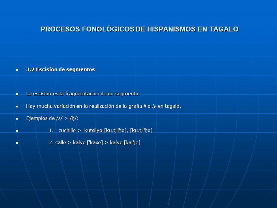 PROCESOS FONOLÓGICOS DE HISPANISMOS EN TAGALO 3. LOS PROCESOS FONOLÓGICOS DE HISPANISMOS EN TAGALO 3. LOS PROCESOS FONOLÓGICOS DE HISPANISMOS EN TAGAL
