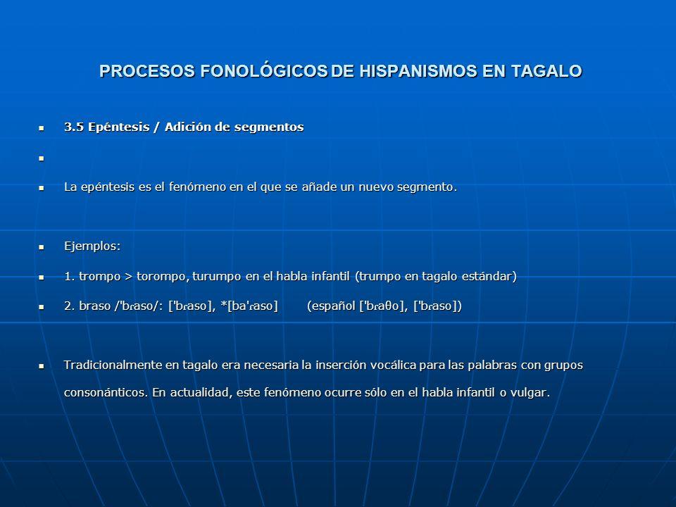 PROCESOS FONOLÓGICOS DE HISPANISMOS EN TAGALO Tabla 2: escena > eksena Para este ejemplo, la ordenación *SS, DEP, MAX >> CODA daría el mismo resultado