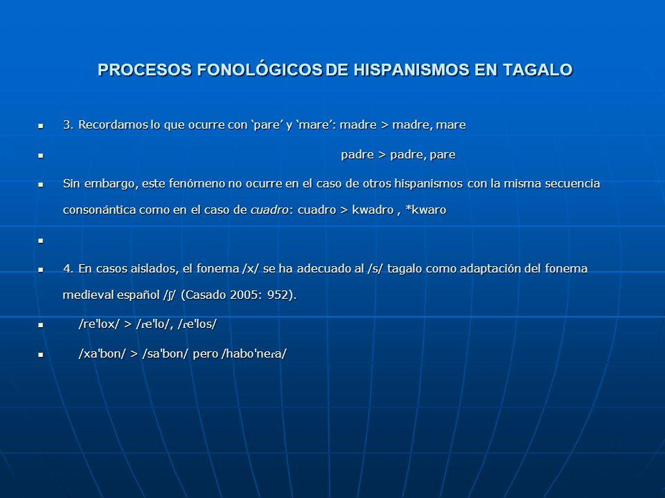 PROCESOS FONOLÓGICOS DE HISPANISMOS EN TAGALO 2. No espirantización 2. No espirantización En tagalo no se realiza en ninguna posición la espirantizaci