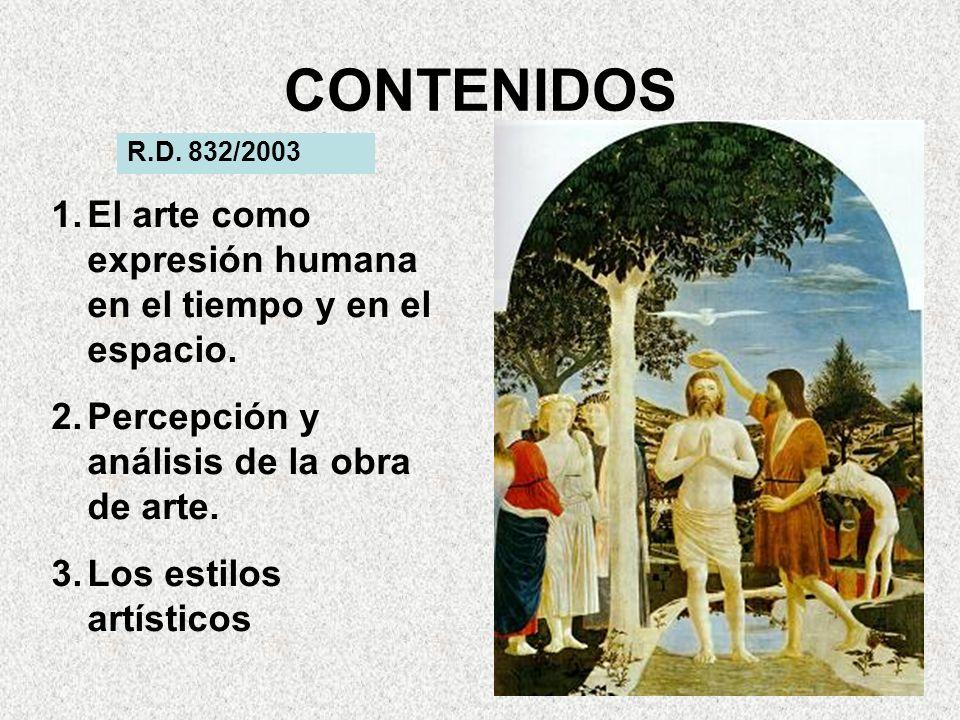 CONTENIDOS R.D.832/2003 1.El arte como expresión humana en el tiempo y en el espacio.
