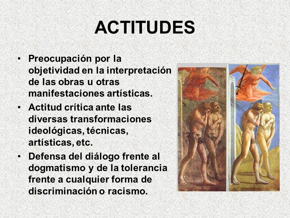 PROCEDIMIENTOS Conocimiento del material historiográfico y de sus fuentes Establecer y valorar la influencia en el ámbito artístico de los cambios políticos, sociales o económicos.
