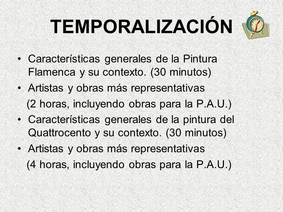 TEMPORALIZACIÓN Características generales de la Pintura Flamenca y su contexto.