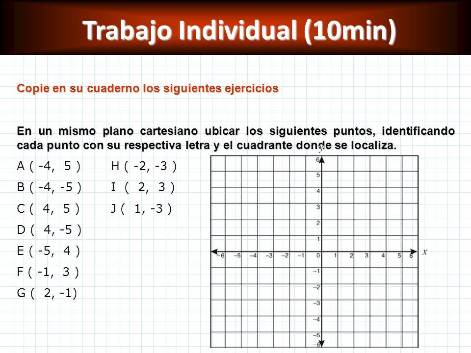 Trabajo Individual (10min) Copie en su cuaderno los siguientes ejercicios En un mismo plano cartesiano ubicar los siguientes puntos, identificando cad