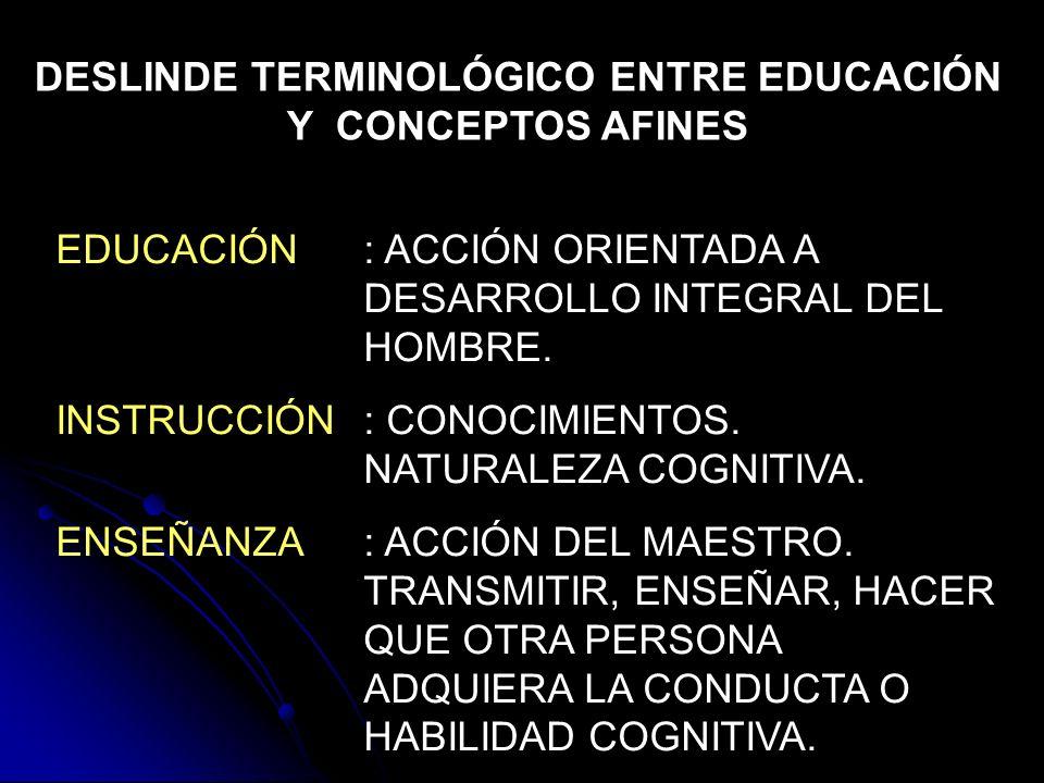 DESLINDE TERMINOLÓGICO ENTRE EDUCACIÓN Y CONCEPTOS AFINES EDUCACIÓN: ACCIÓN ORIENTADA A DESARROLLO INTEGRAL DEL HOMBRE. INSTRUCCIÓN: CONOCIMIENTOS. NA