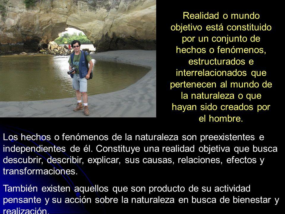 Realidad o mundo objetivo está constituido por un conjunto de hechos o fenómenos, estructurados e interrelacionados que pertenecen al mundo de la natu