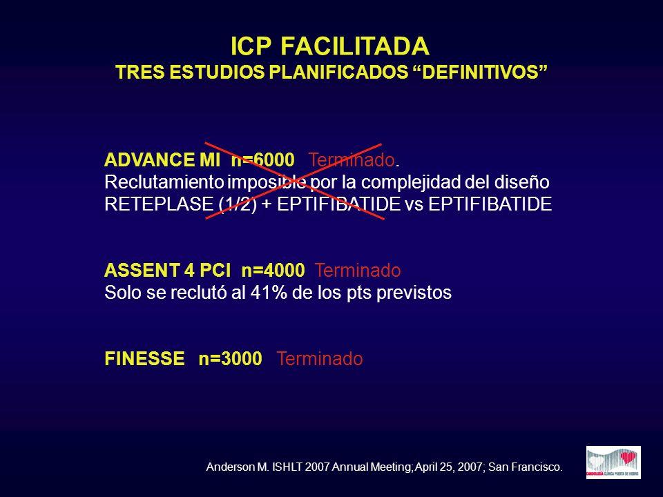 ICP FACILITADA TRES ESTUDIOS PLANIFICADOS DEFINITIVOS ADVANCE MI n=6000 Terminado. Reclutamiento imposible por la complejidad del diseño RETEPLASE (1/