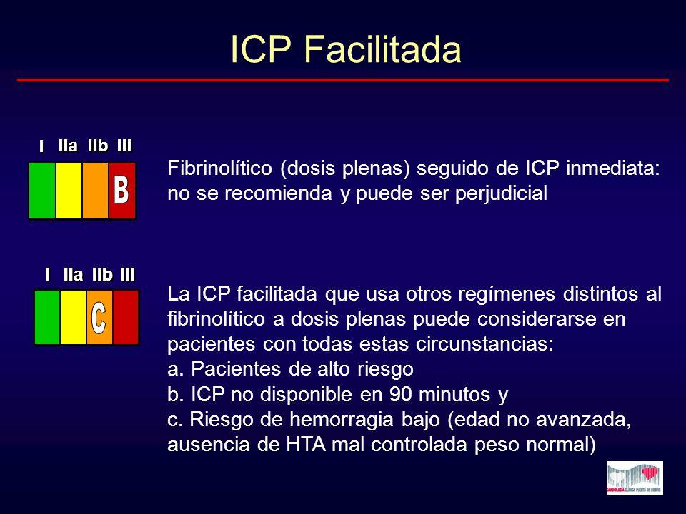 Fibrinolítico (dosis plenas) seguido de ICP inmediata: no se recomienda y puede ser perjudicial La ICP facilitada que usa otros regímenes distintos al
