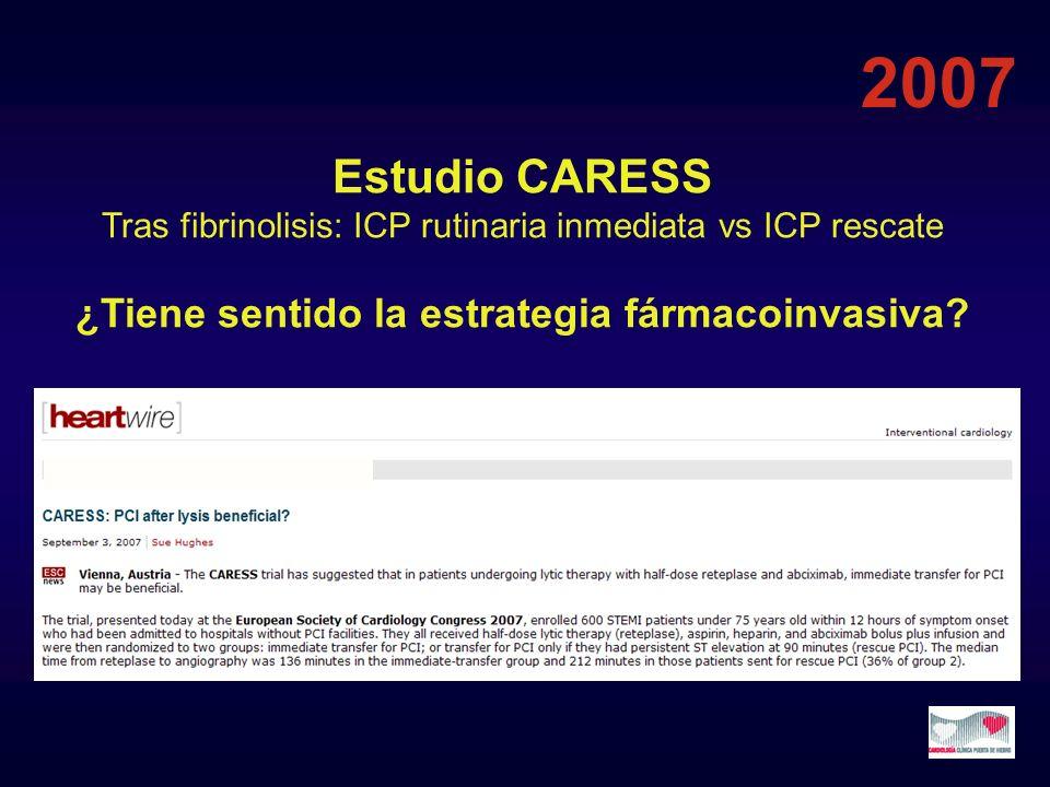 Estudio CARESS Tras fibrinolisis: ICP rutinaria inmediata vs ICP rescate ¿Tiene sentido la estrategia fármacoinvasiva? 2007