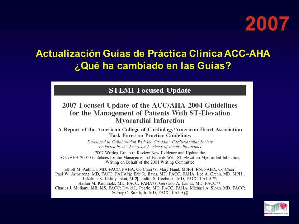 Actualización Guías de Práctica Clínica ACC-AHA ¿Qué ha cambiado en las Guías? 2007