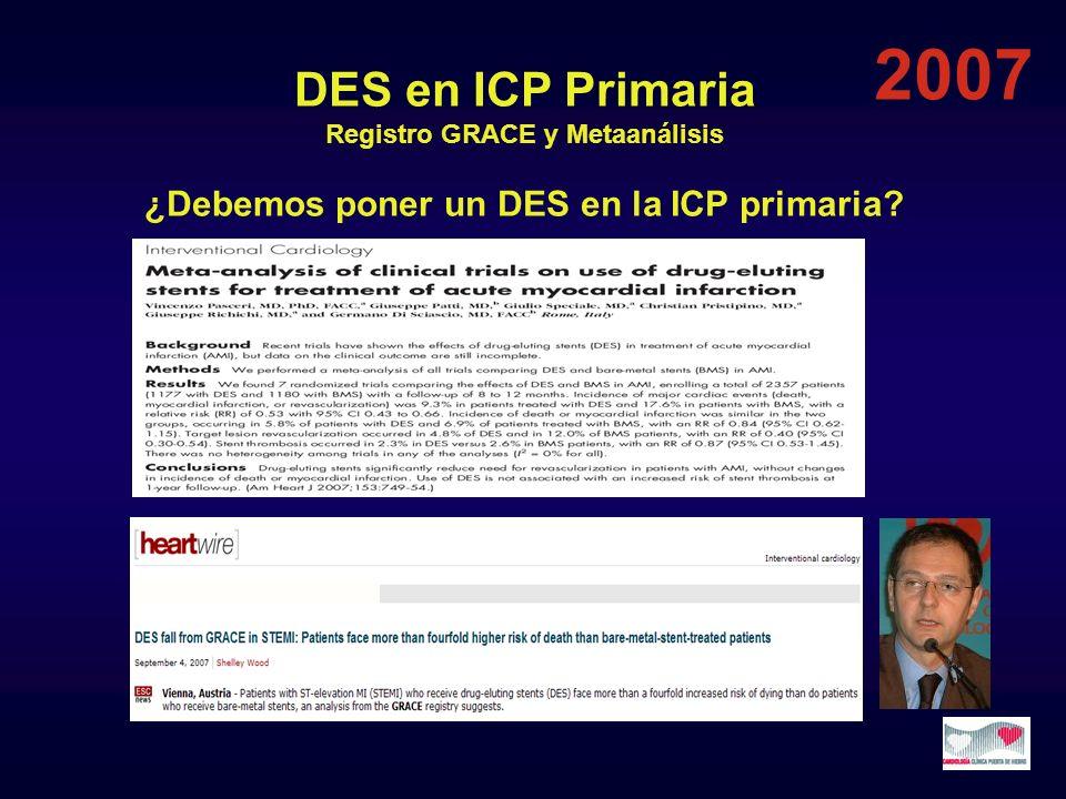DES en ICP Primaria Registro GRACE y Metaanálisis ¿Debemos poner un DES en la ICP primaria? 2007