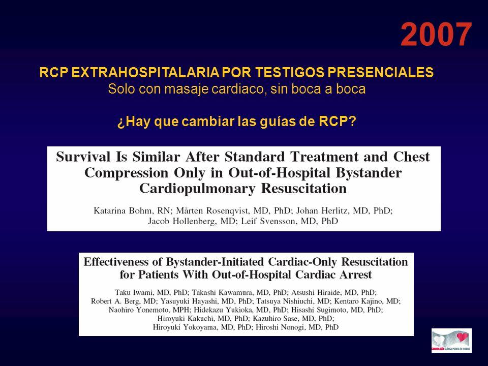 RCP EXTRAHOSPITALARIA POR TESTIGOS PRESENCIALES Solo con masaje cardiaco, sin boca a boca ¿Hay que cambiar las guías de RCP? 2007