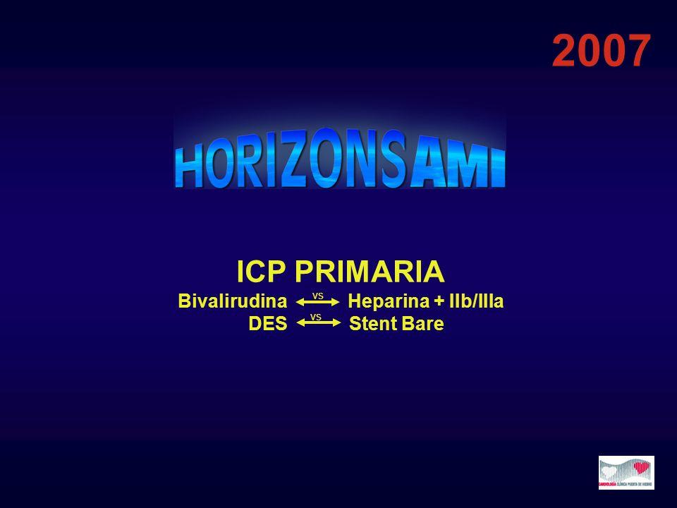 ICP PRIMARIA Bivalirudina Heparina + IIb/IIIa DES Stent Bare 2007 vs