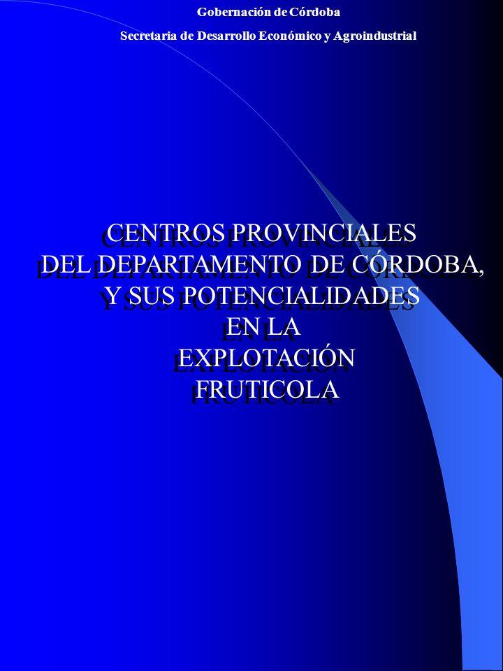 Gobernación de Córdoba Secretaria de Desarrollo Económico y Agroindustrial CENTROS PROVINCIALES DEL DEPARTAMENTO DE CÓRDOBA, Y SUS POTENCIALIDADES EN LA EXPLOTACIÓN FRUTICOLA CENTROS PROVINCIALES DEL DEPARTAMENTO DE CÓRDOBA, Y SUS POTENCIALIDADES EN LA EXPLOTACIÓN FRUTICOLA