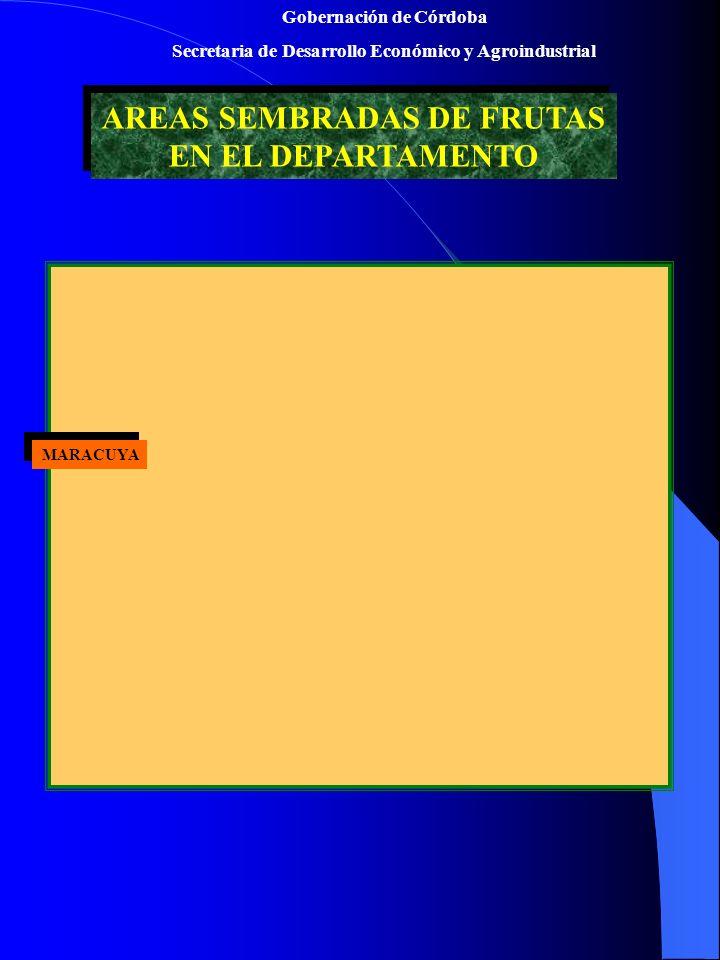 Gobernación de Córdoba Secretaria de Desarrollo Económico y Agroindustrial AREAS SEMBRADAS DE FRUTAS EN EL DEPARTAMENTO AREAS SEMBRADAS DE FRUTAS EN EL DEPARTAMENTO MARACUYA MARACUYA