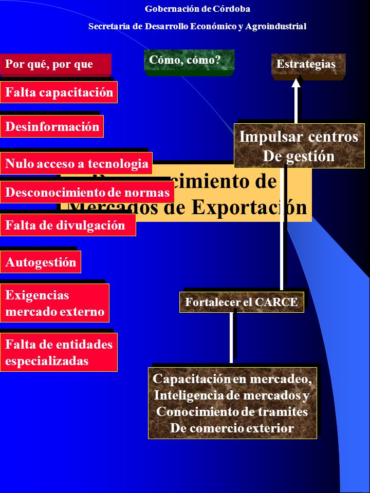 Gobernación de Córdoba Secretaria de Desarrollo Económico y Agroindustrial Desconocimiento de Mercados de Exportación Desconocimiento de Mercados de Exportación Por qué, por que Cómo, cómo.