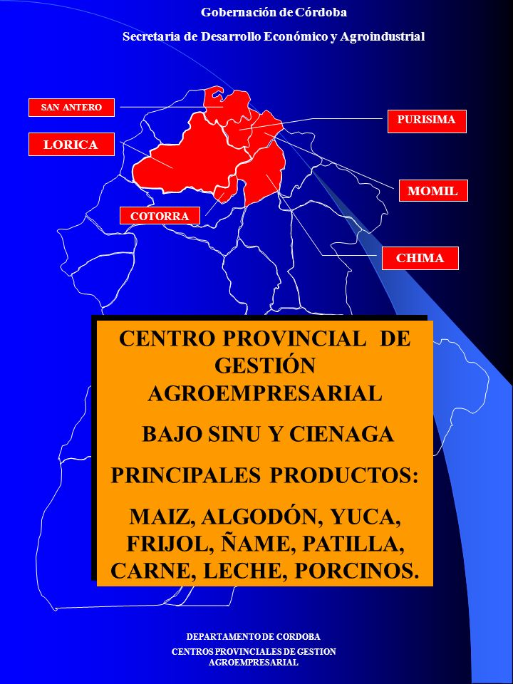 Gobernación de Córdoba Secretaria de Desarrollo Económico y Agroindustrial AREA EN PATILLA AREA EN PATILLA