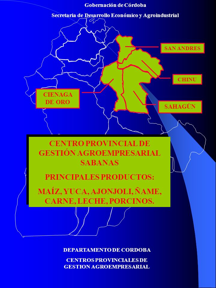 Gobernación de Córdoba Secretaria de Desarrollo Económico y Agroindustrial DEPARTAMENTO DE CORDOBA CENTROS PROVINCIALES DE GESTION AGROEMPRESARIAL CENTRO PROVINCIAL DE GESTIÓN AGROEMPRESARIAL SABANAS PRINCIPALES PRODUCTOS: MAÍZ, YUCA, AJONJOLI, ÑAME, CARNE, LECHE, PORCINOS.