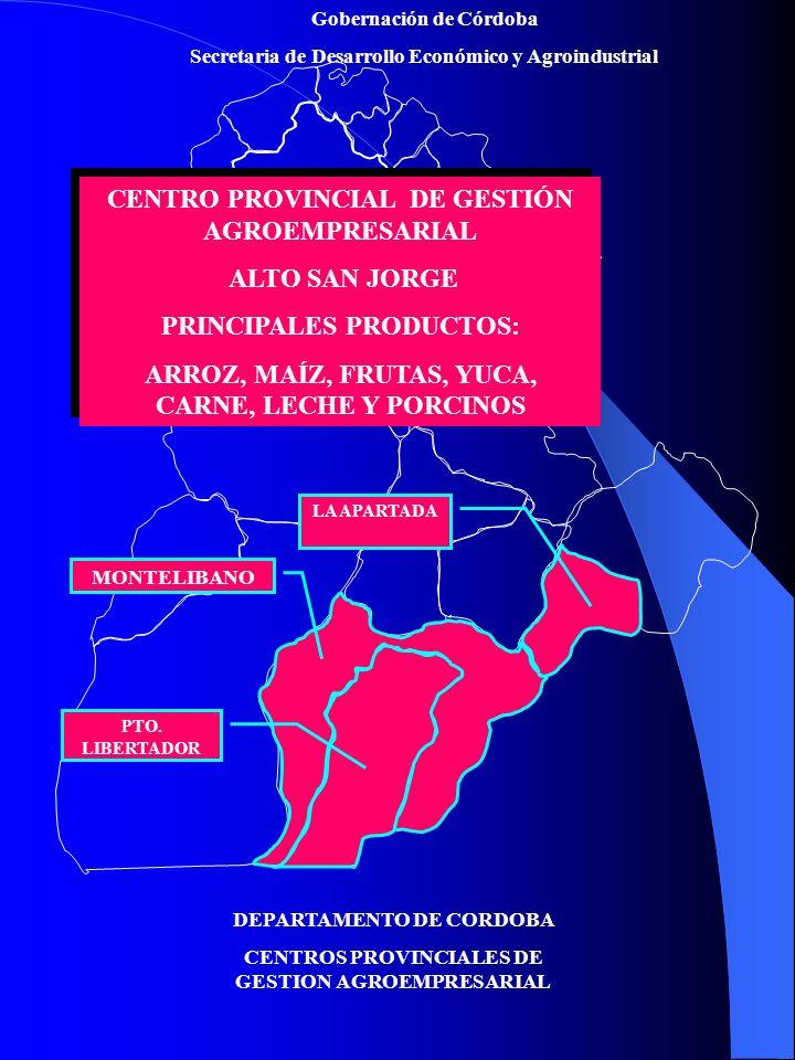 Gobernación de Córdoba Secretaria de Desarrollo Económico y Agroindustrial DEPARTAMENTO DE CORDOBA CENTROS PROVINCIALES DE GESTION AGROEMPRESARIAL CENTRO PROVINCIAL DE GESTIÓN AGROEMPRESARIAL ALTO SINÚ PRINCIPALES PRODUCTOS: MAÍZ, ARROZ, PLÁTANO, YUCA, FRUTALES, FORESTAL, CARNE, LECHE, PORCICULTURA.