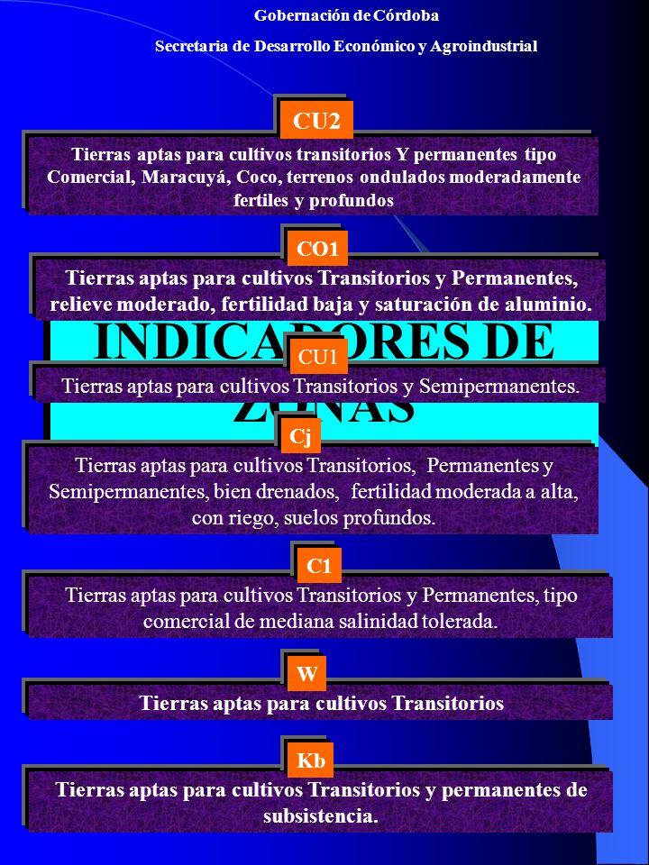 Gobernación de Córdoba Secretaria de Desarrollo Económico y Agroindustrial ZONAS AGROECOLOGICAS POTENCIALES PARA LOS CULTIVOS DE FRUTAS ZONAS AGROECOLOGICAS POTENCIALES PARA LOS CULTIVOS DE FRUTAS C1: Tierras aptas para Cocotero, área potencial 27.520 ha Kb: Tierras aptas para Citricos, Papaya, Guanabana, área potencial 173.000 ha Cu1: Tierras aptas para Maracuya, Mango, Guayabas, Citricos, área potencial 604.000 ha Co1: Cultivo de Marañon.
