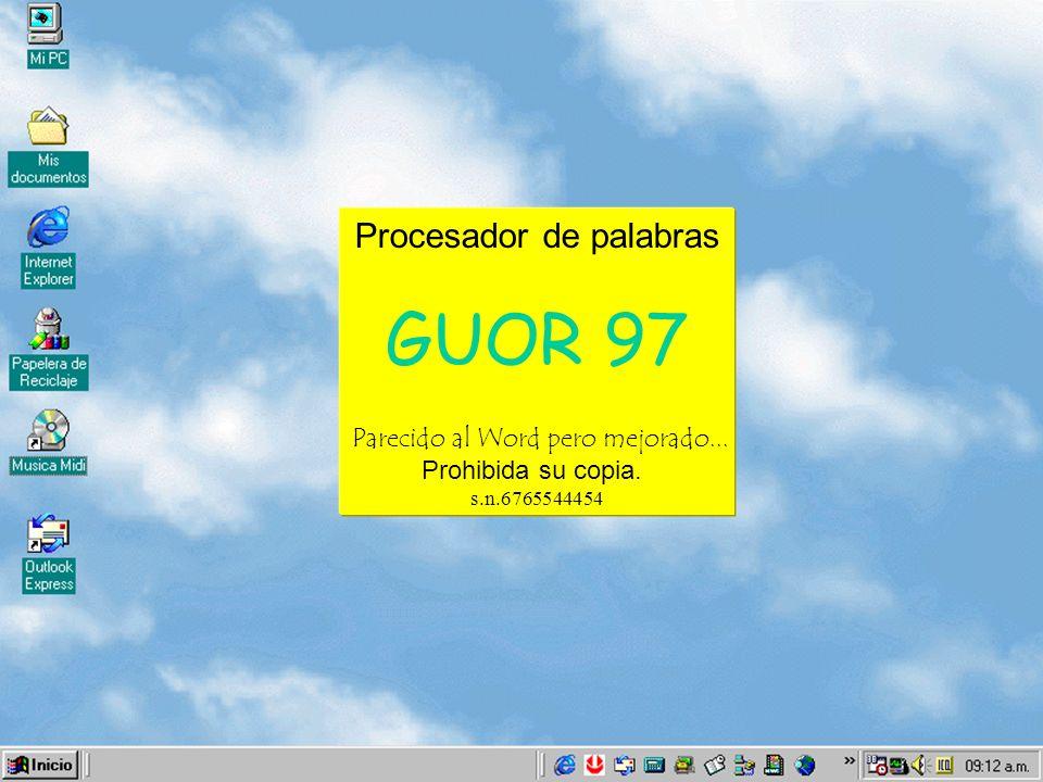 Procesador de palabras GUOR 97 Parecido al Word pero mejorado... Prohibida su copia. s.n.6765544454