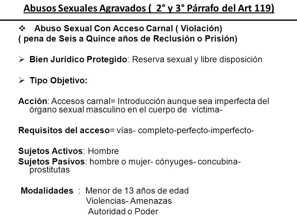 Abusos Sexuales Agravados ( 2° y 3° Párrafo del Art 119) Abuso Sexual Con Acceso Carnal ( Violación) ( pena de Seis a Quince años de Reclusión o Prisi