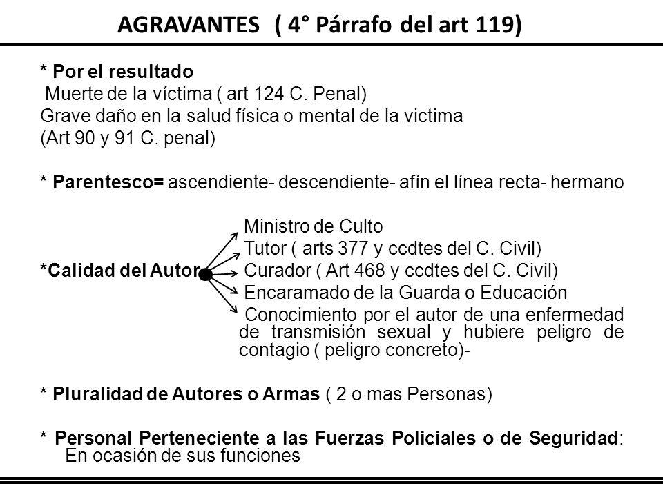 AGRAVANTES ( 4° Párrafo del art 119) * Por el resultado Muerte de la víctima ( art 124 C. Penal) Grave daño en la salud física o mental de la victima