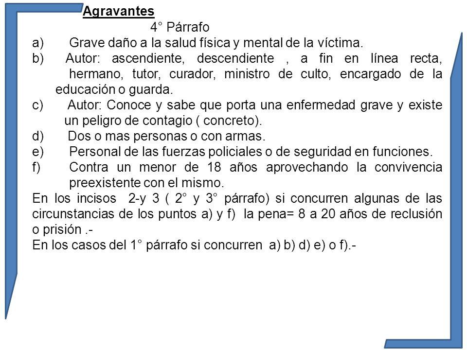 Agravantes 4° Párrafo a) Grave daño a la salud física y mental de la víctima. b) Autor: ascendiente, descendiente, a fin en línea recta, hermano, tuto