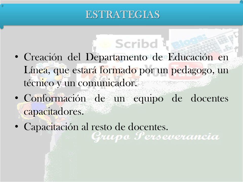 Creación del Departamento de Educación en Línea, que estará formado por un pedagogo, un técnico y un comunicador. Conformación de un equipo de docente