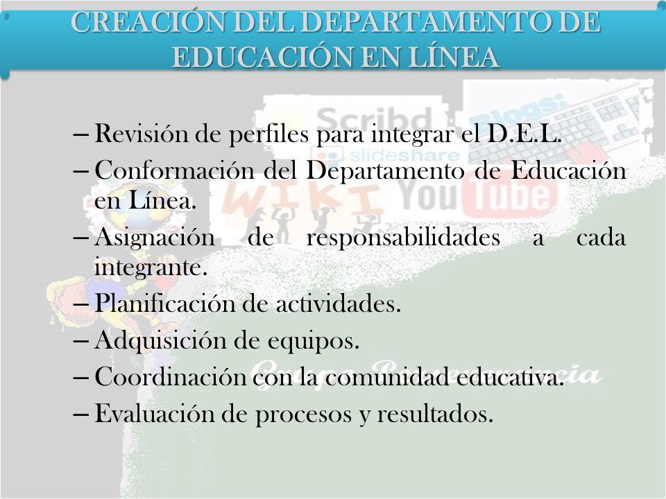 – Revisión de perfiles para integrar el D.E.L. – Conformación del Departamento de Educación en Línea. – Asignación de responsabilidades a cada integra