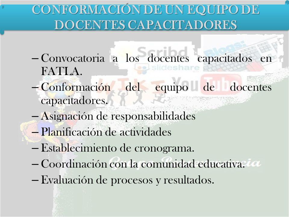 – Convocatoria a los docentes capacitados en FATLA. – Conformación del equipo de docentes capacitadores. – Asignación de responsabilidades – Planifica