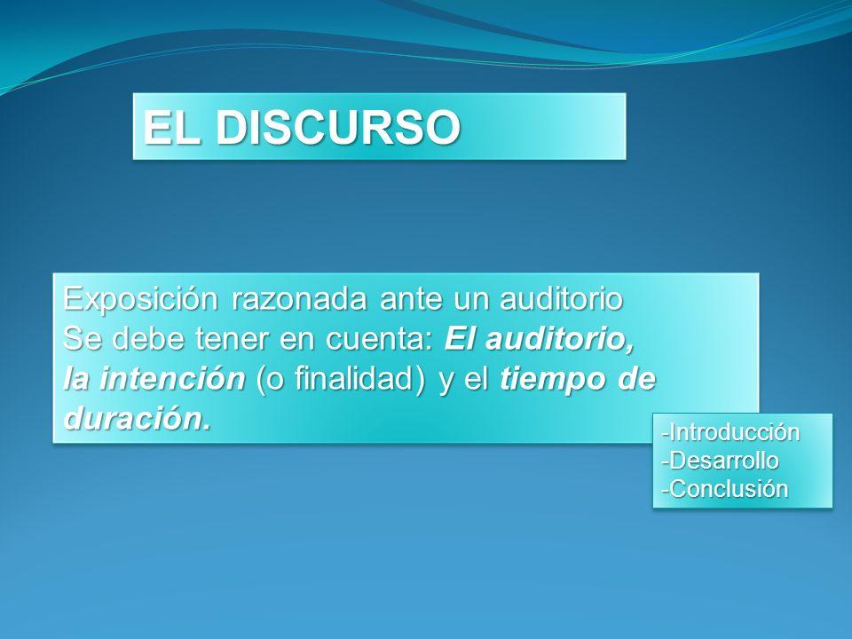 EL DISCURSO Exposición razonada ante un auditorio Se debe tener en cuenta: El auditorio, la intención (o finalidad) y el tiempo de duración. Exposició
