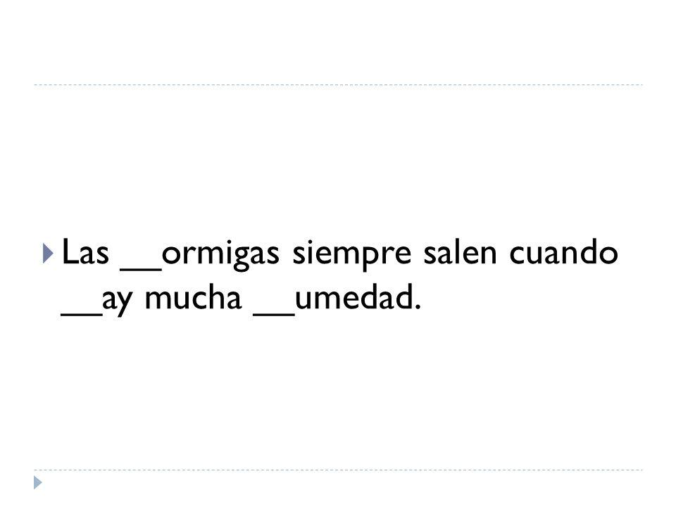 Las __ormigas siempre salen cuando __ay mucha __umedad.