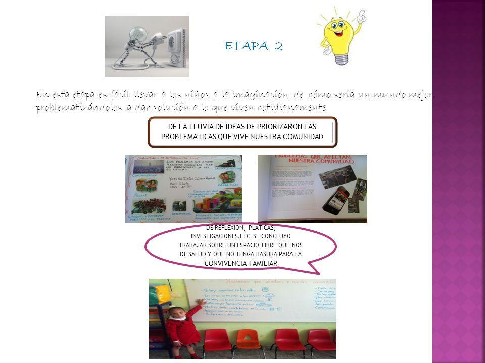 ETAPA 2 En esta etapa es fácil llevar a los niños a la imaginación de cómo sería un mundo mejor, problematizándolos a dar solución a lo que viven coti