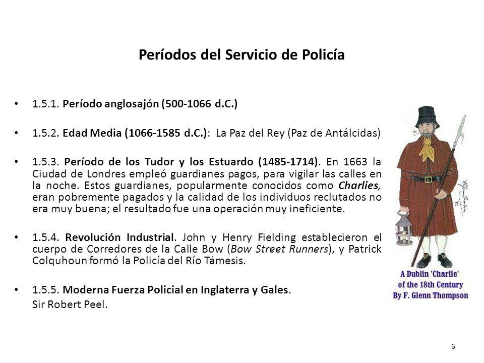 Períodos del Servicio de Policía 1.5.1. Período anglosajón (500-1066 d.C.) 1.5.2. Edad Media (1066-1585 d.C.): La Paz del Rey (Paz de Antálcidas) 1.5.
