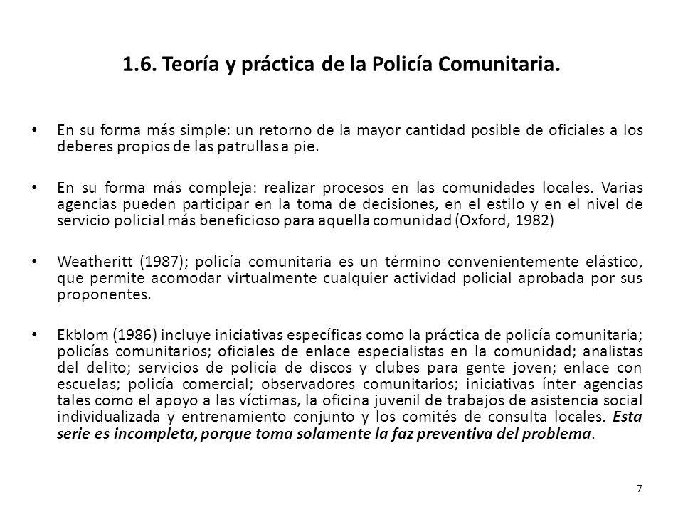 1.6. Teoría y práctica de la Policía Comunitaria. En su forma más simple: un retorno de la mayor cantidad posible de oficiales a los deberes propios d